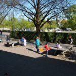Kinderbetreuung in der Frühlingssonne